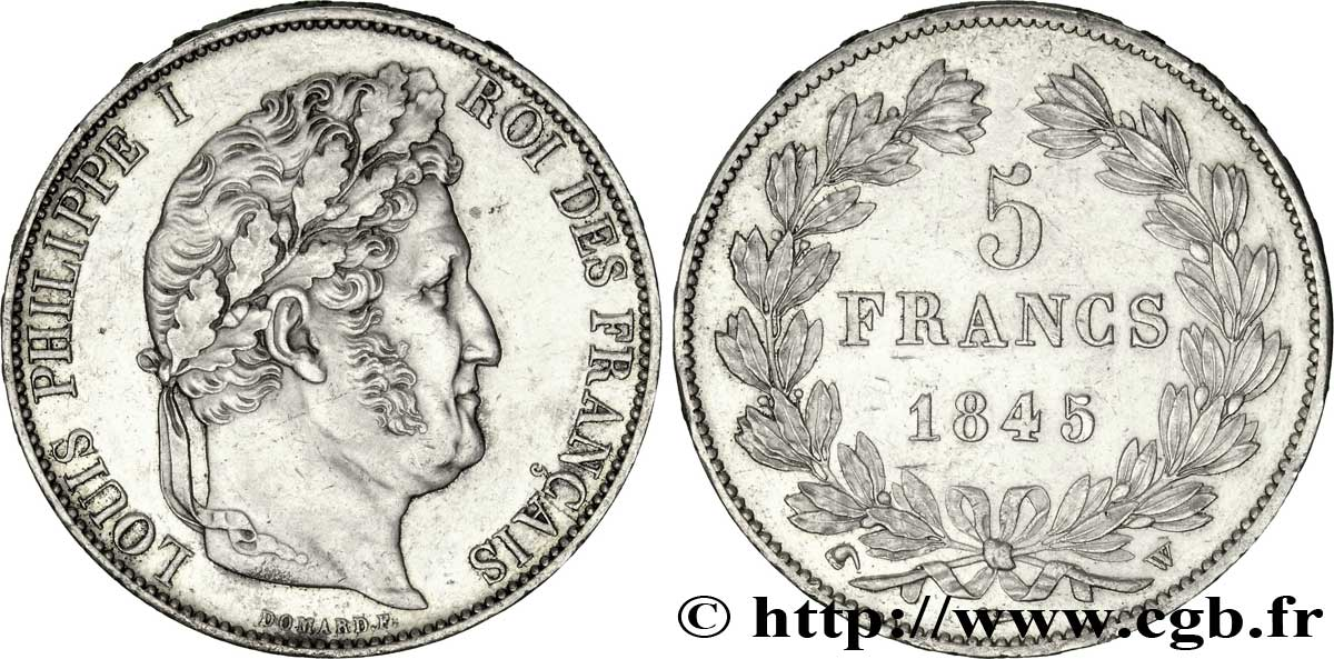 5 francs IIIe type Domard 1845 Lille F.325/9 SUP58