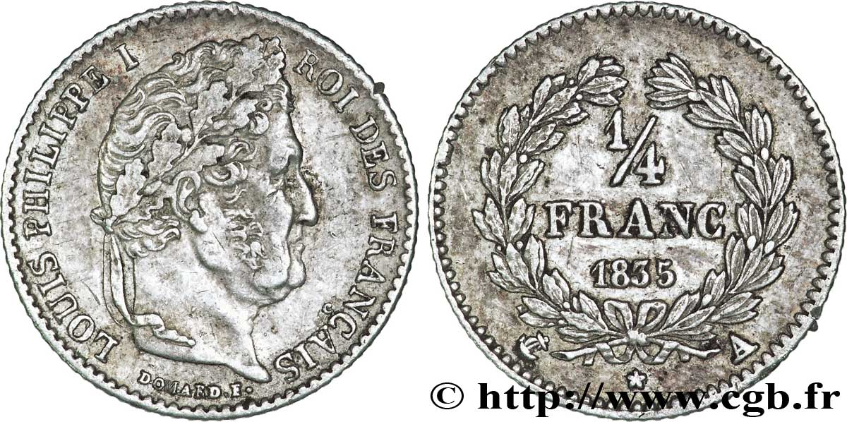 1/4 franc Louis-Philippe 1835 Paris F.166/49 TTB48