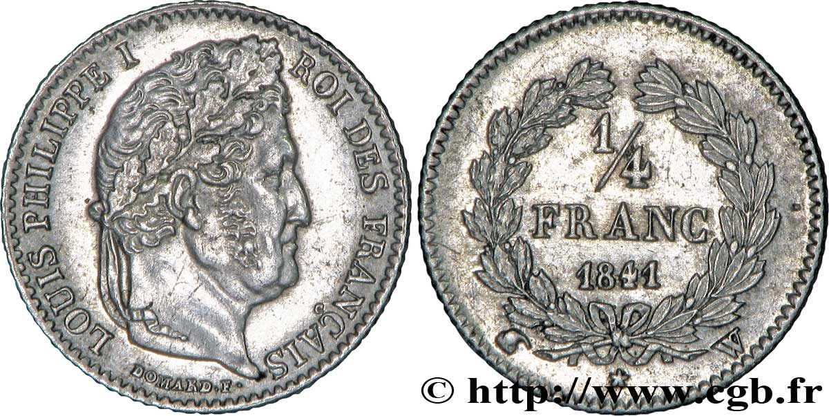 1/4 franc Louis-Philippe 1841 Lille F.166/88 SUP59