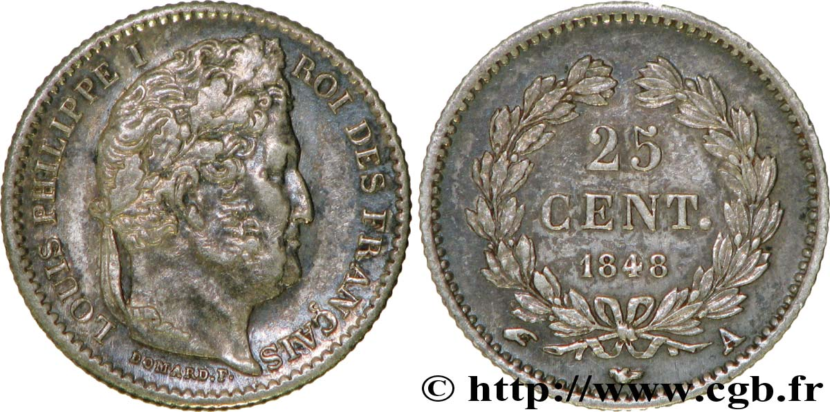 25 centimes Louis-Philippe 1848 Paris F.167/12 TTB45
