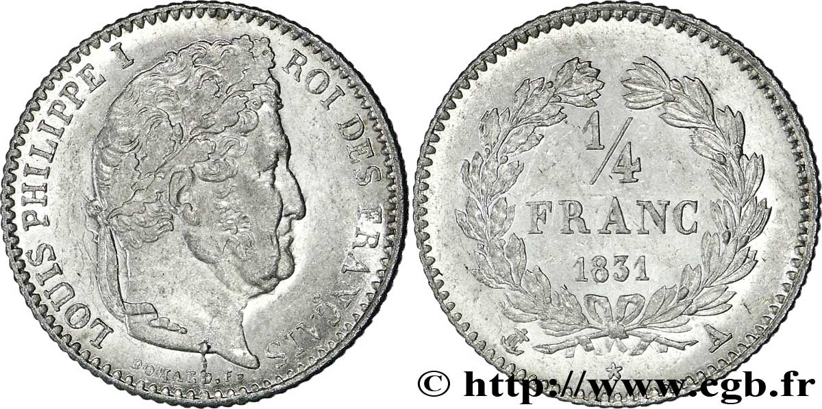 1/4 franc Louis-Philippe 1831 Paris F.166/1 AU58