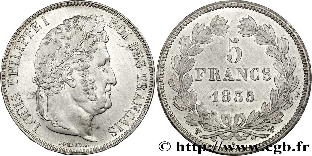 5 francs IIe type Domard 1835 Lille F.324/52 SUP58