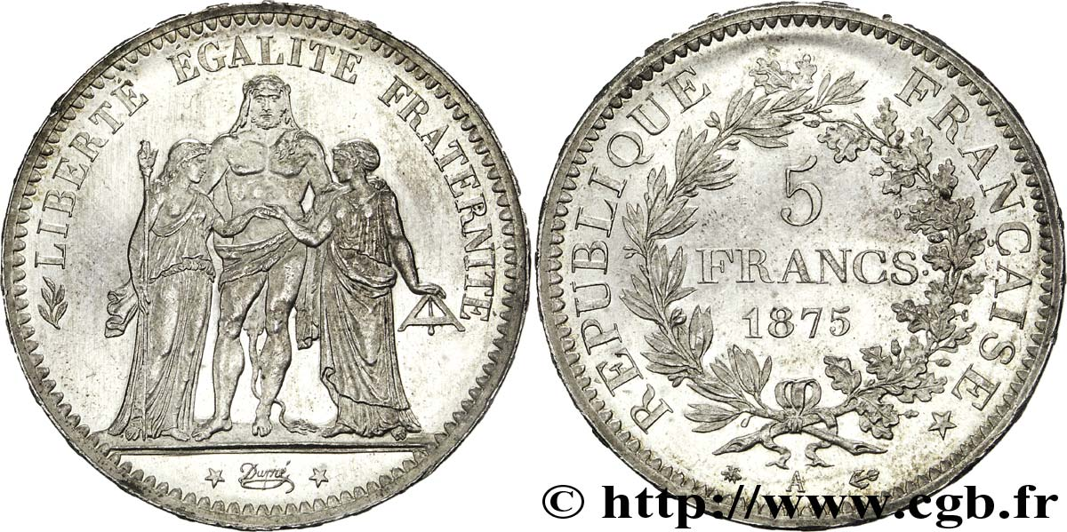 5 francs Hercule 1875 Paris F.334/14 SUP59