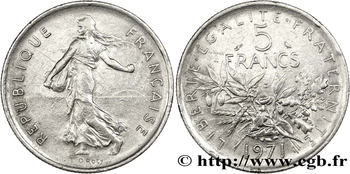 5 francs Semeuse, nickel 1971 Paris F.341/3 TTB45