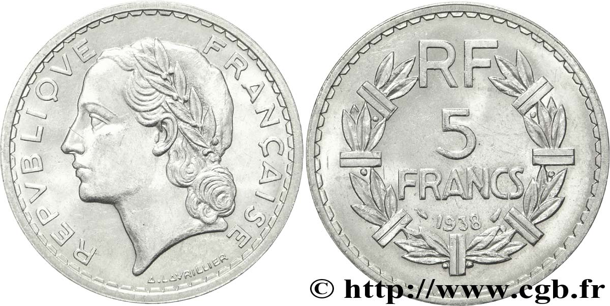 5 francs Lavrillier, nickel 1938  F.336/7 SUP59