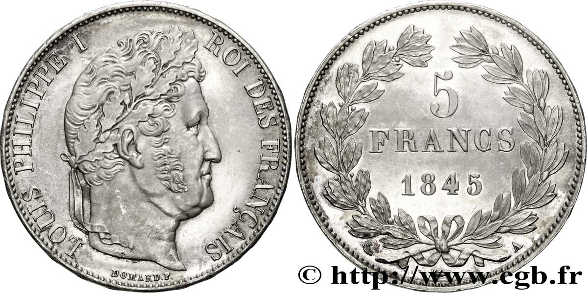 5 francs IIIe type Domard 1845 Paris F.325/6 SUP62