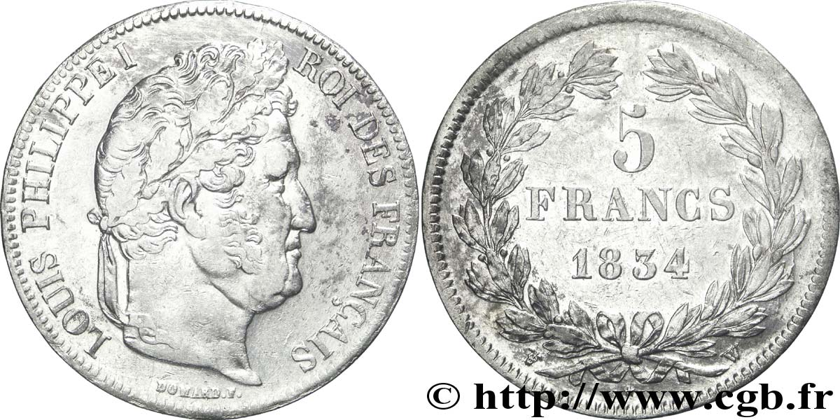 5 francs IIe type Domard 1834 Lille F.324/41 TTB45