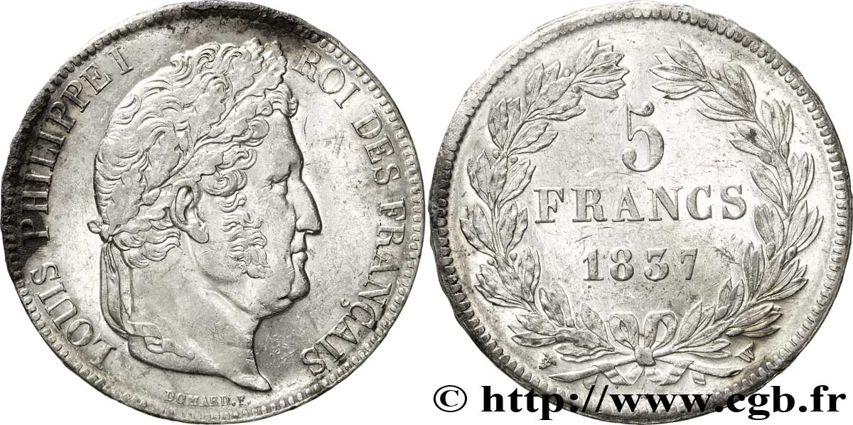 5 francs IIe type Domard 1837 Lille F.324/67 TTB53