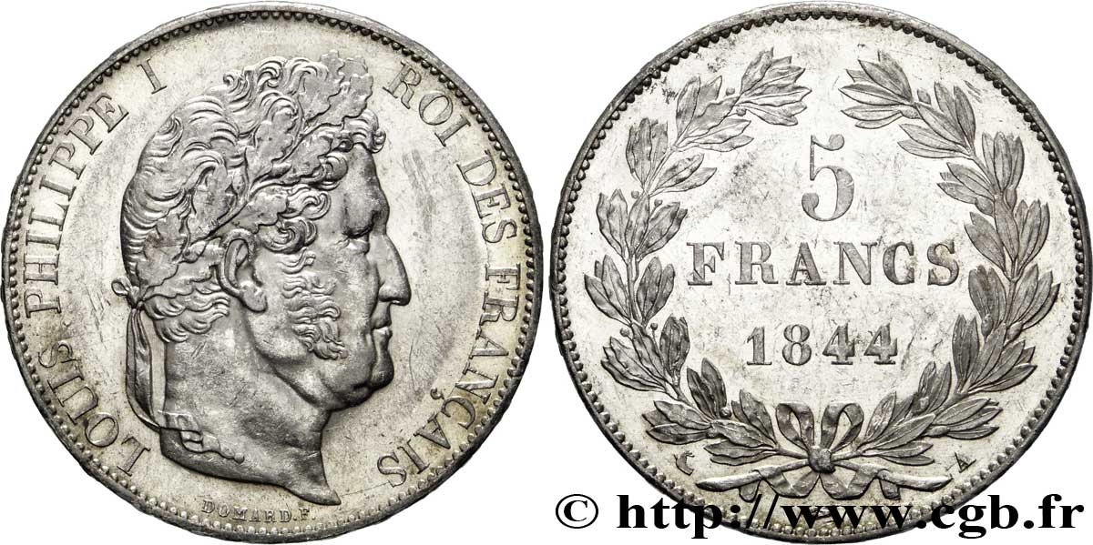 5 francs IIIe type Domard 1844 Paris F.325/1 SUP58