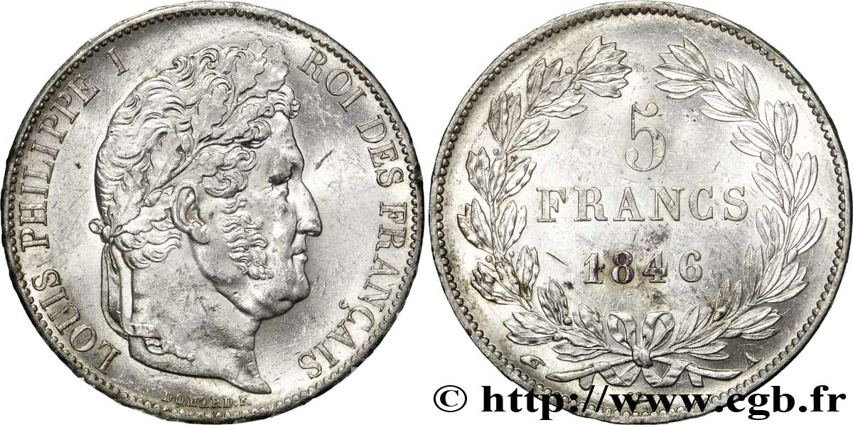 5 francs IIIe type Domard 1846 Paris F.325/10 SUP60