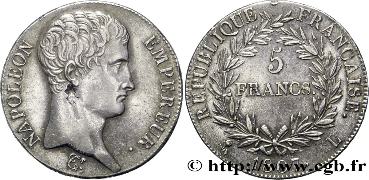 5 Francs Napoléon Empereur Calendrier Grégorien 1807 Bayonne F304