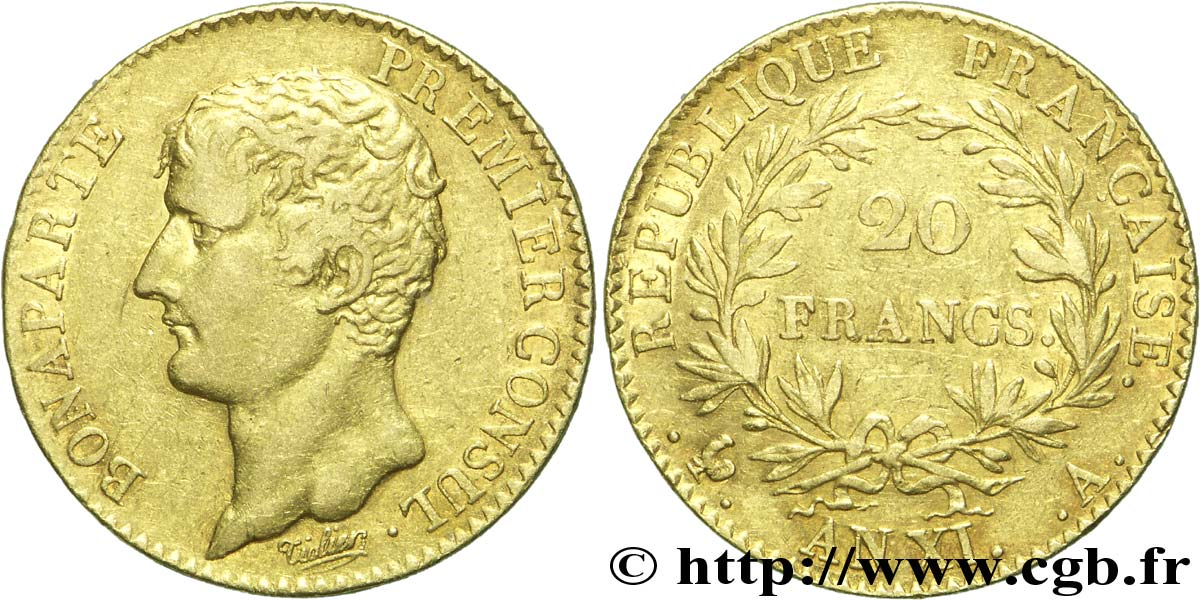 20 francs or Bonaparte Premier Consul 1803 Paris F.510/1 TTB42