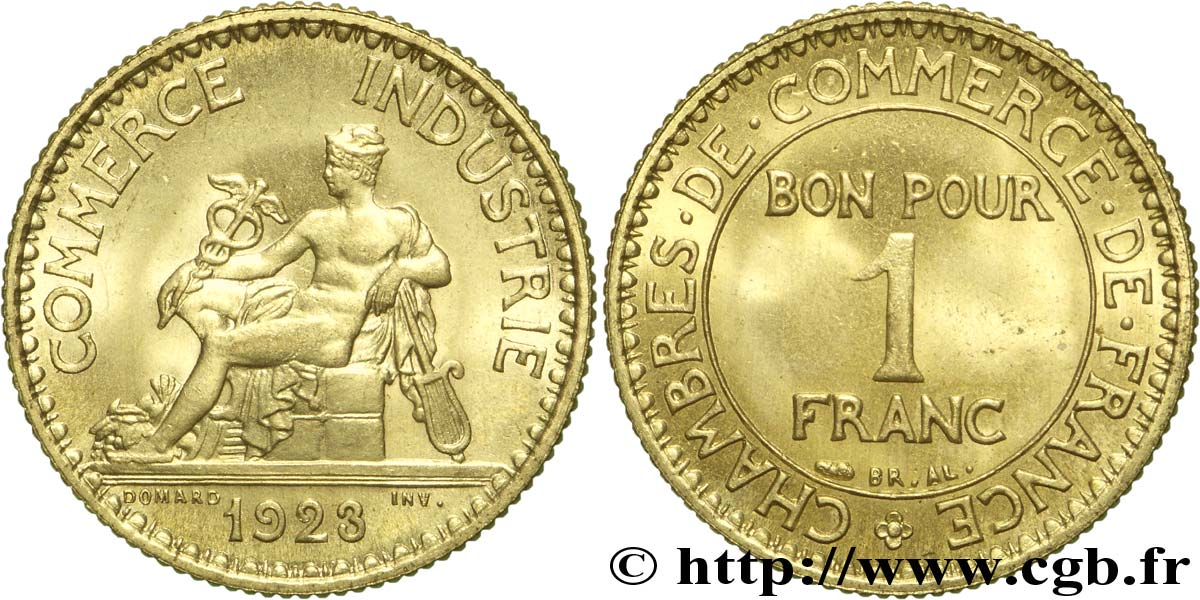 piece de monnaie bon pour 1 franc 1923