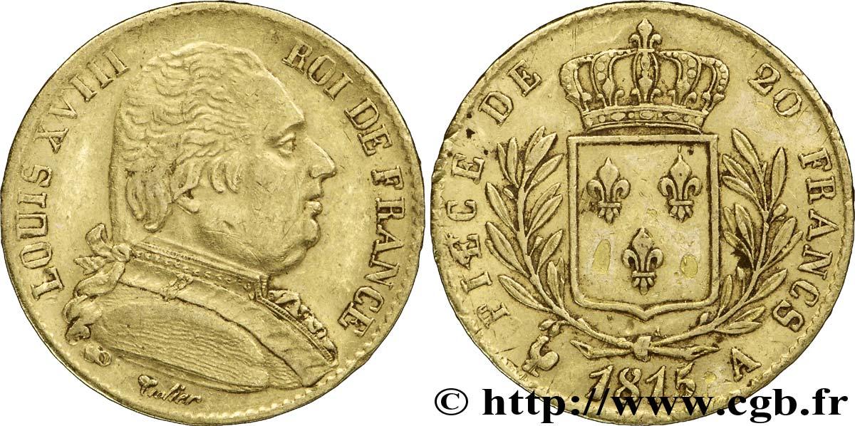 20 francs or louis xviii buste habill 1815 paris fmd 184057 modern coins. Black Bedroom Furniture Sets. Home Design Ideas