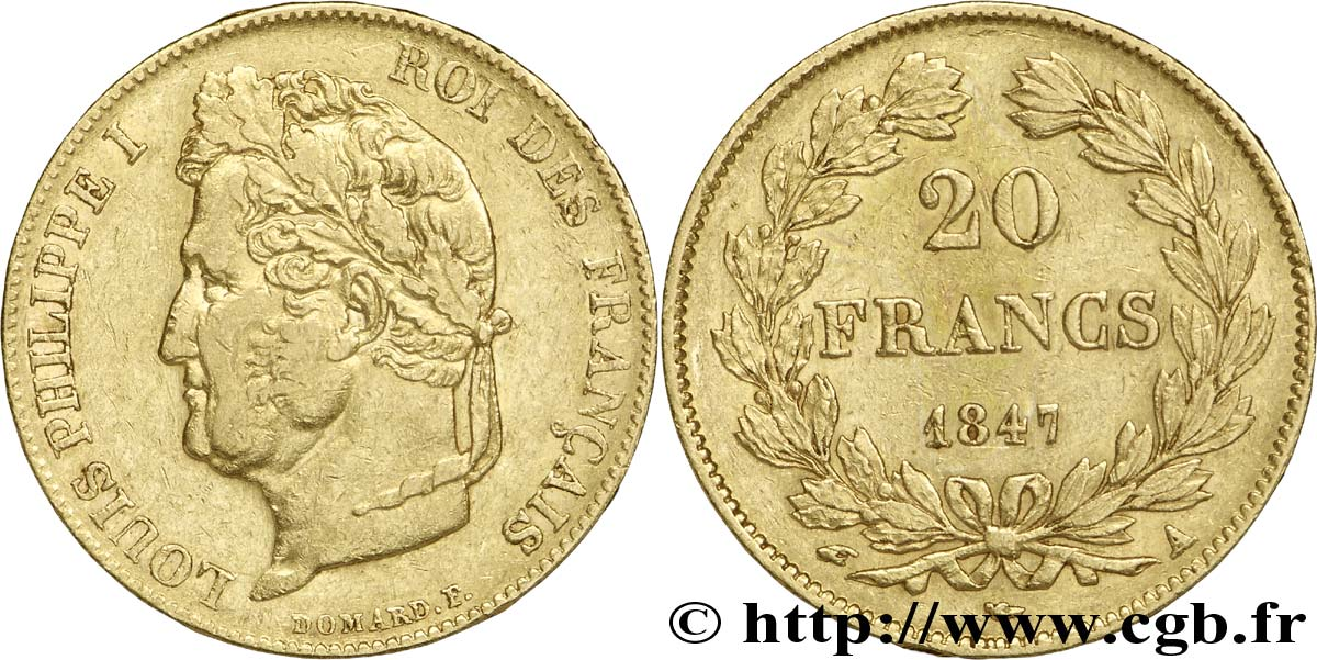 20 francs or Louis-Philippe, Domard 1847 Paris F.527/37 TTB48