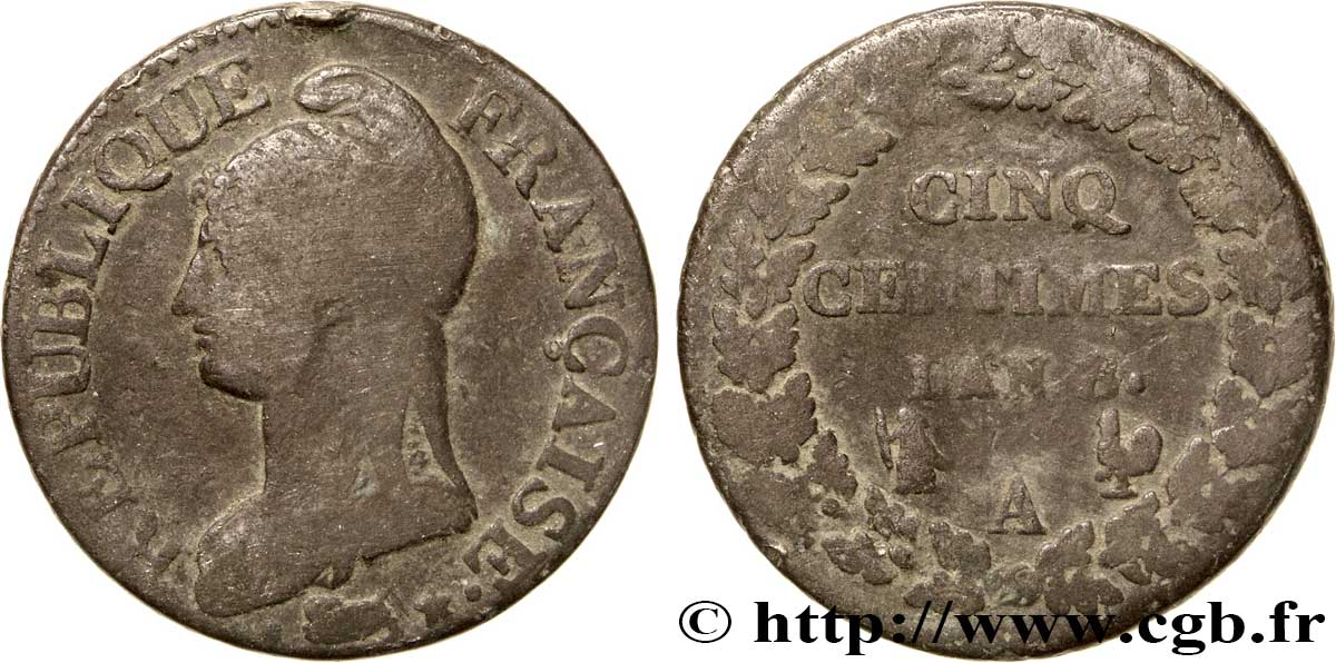 Cinq centimes Dupré, grand module 1800 Paris F.115/58 B10