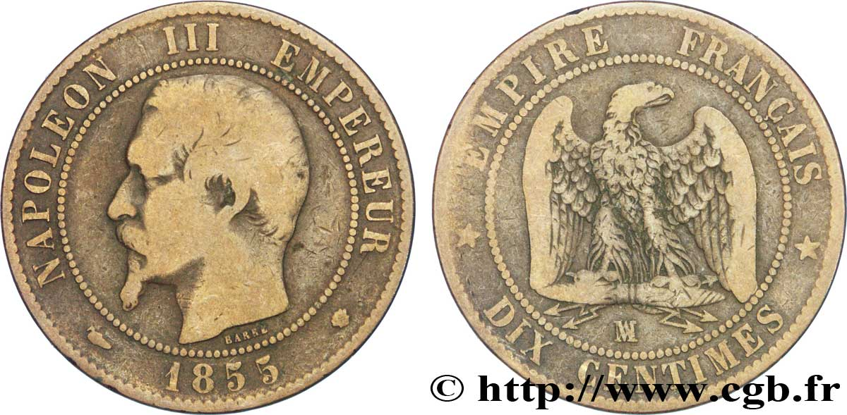 Dix Centimes Napoléon Iii Tête Nue 1855 Marseille F13329