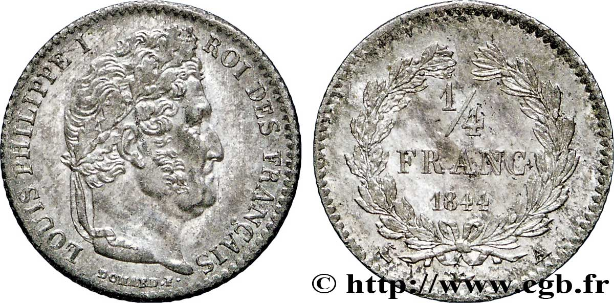 1/4 franc Louis-Philippe 1844 Paris F.166/97 SUP58