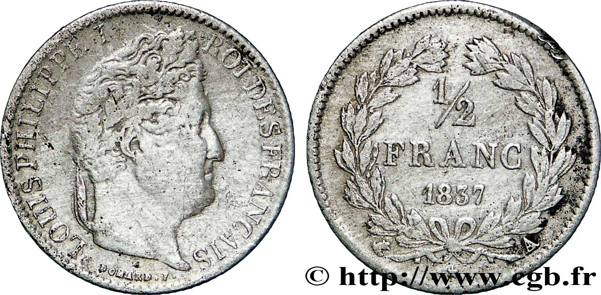 1/2 franc Louis-Philippe 1837 Paris F.182/66 TB30