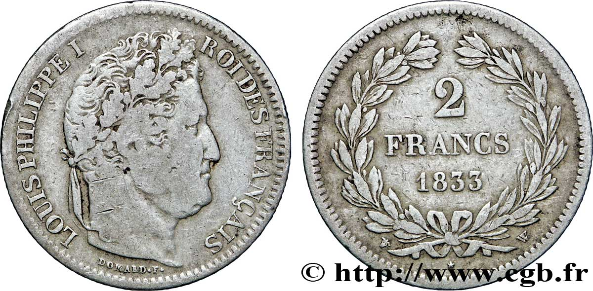 2 francs Louis-Philippe 1833 Lille F.260/28 TB25