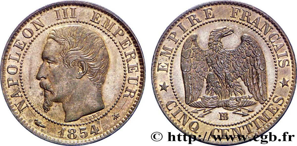 Cinq Centimes Napoléon Iii Tête Nue 1854 Strasbourg F11610