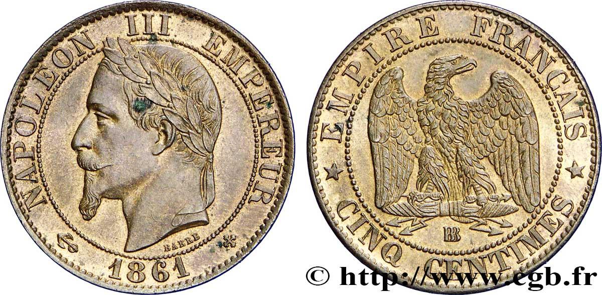 Cinq Centimes Napoléon Iii Tête Laurée 1861 Strasbourg F1173