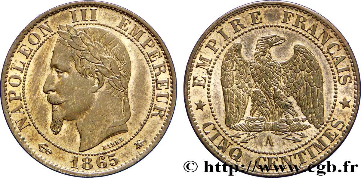 Cinq Centimes Napoléon Iii Tête Laurée 1865 Paris F11714