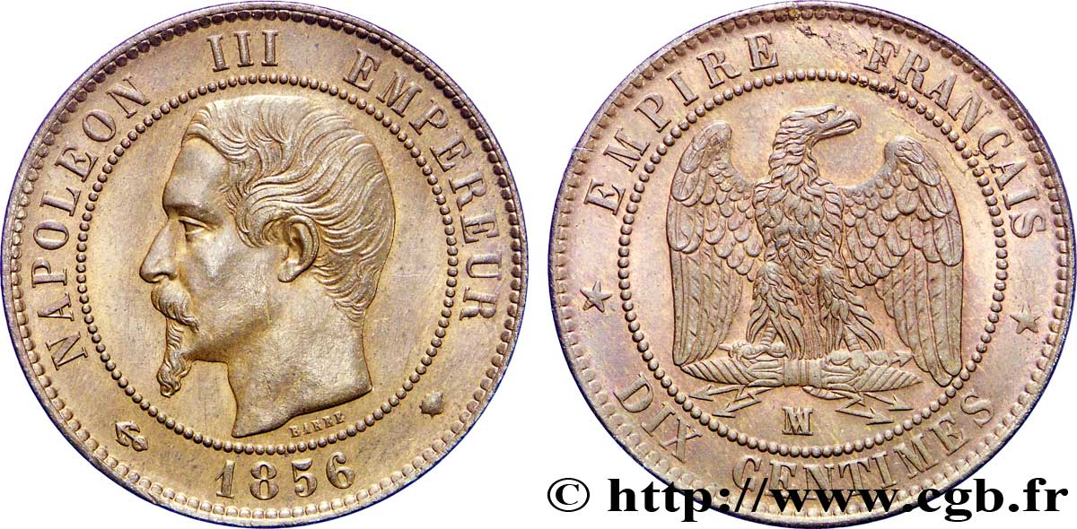 Dix centimes Napoléon III, tête nue 1856 Marseille F 133/38