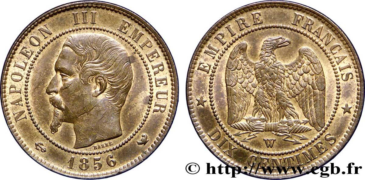 Dix centimes Napoléon III, tête nue 1856 Lille F 133/39