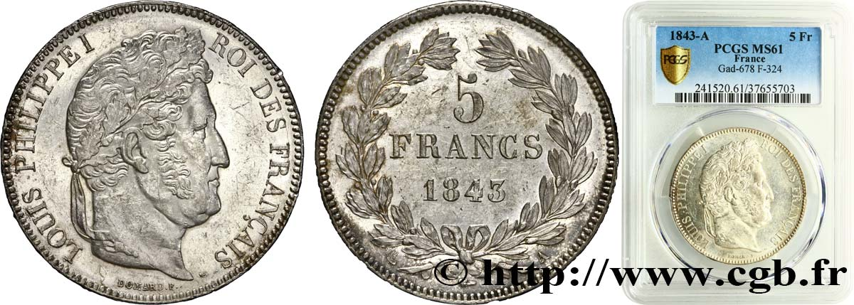 5 francs IIe type Domard 1843 Paris F.324/100 SUP61 PCGS