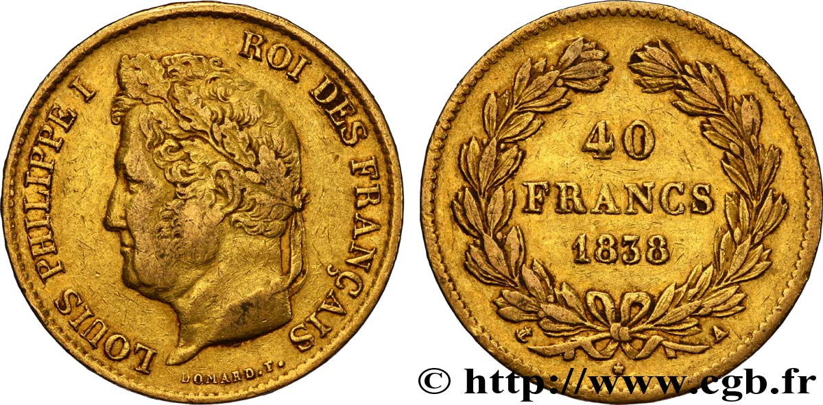 40 francs or Louis-Philippe 1838 Paris F.546/11 TTB42