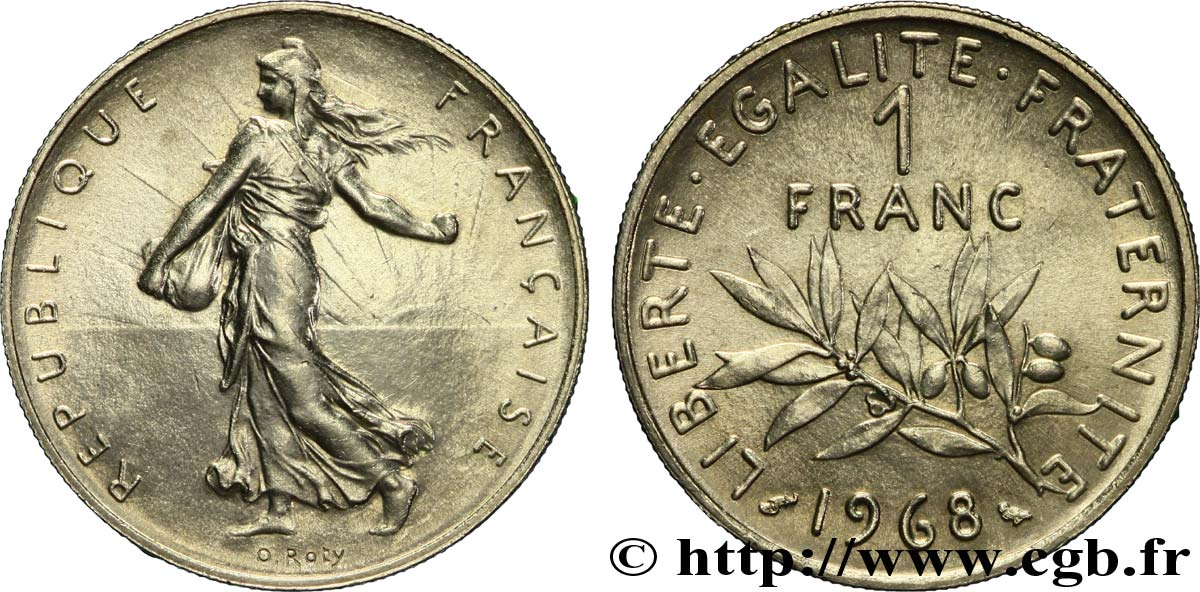 1 franc Semeuse, nickel 1968 Paris F.226/13 SPL63