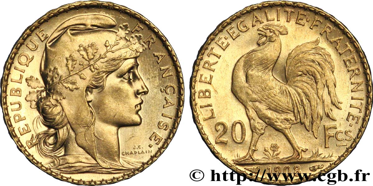 20 Francs Or Coq Liberte Egalite Fraternite 1908 Paris F 535 2