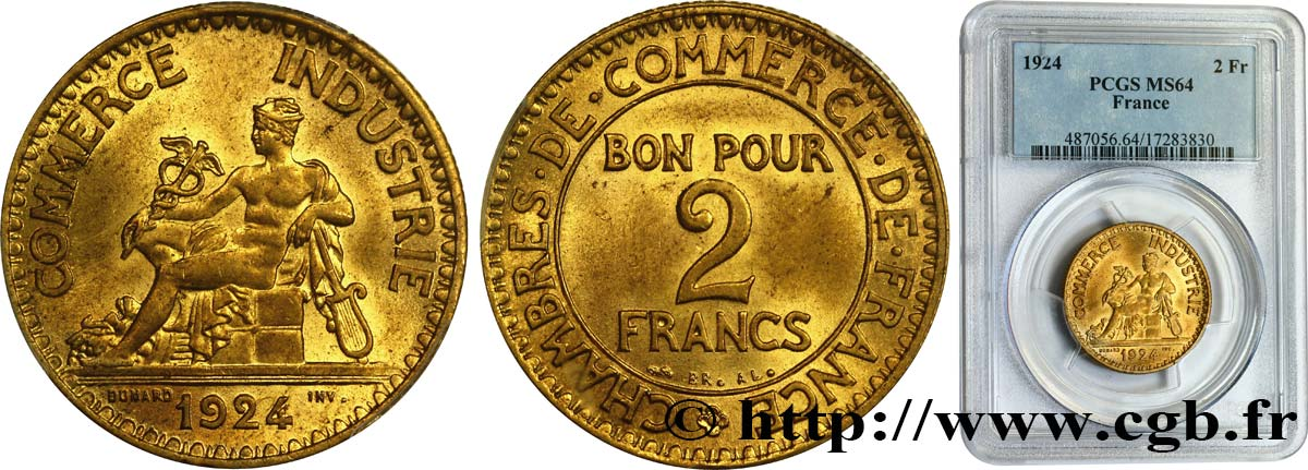 2 francs Chambres de Commerce 1924  F.267/6 MS64 PCGS