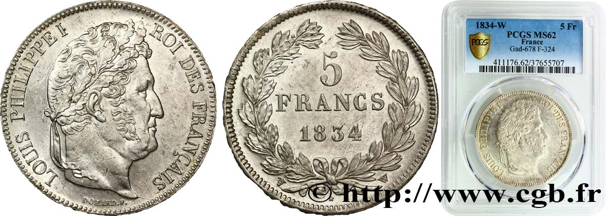 5 francs IIe type Domard 1834 Lille F.324/41 SUP62 PCGS