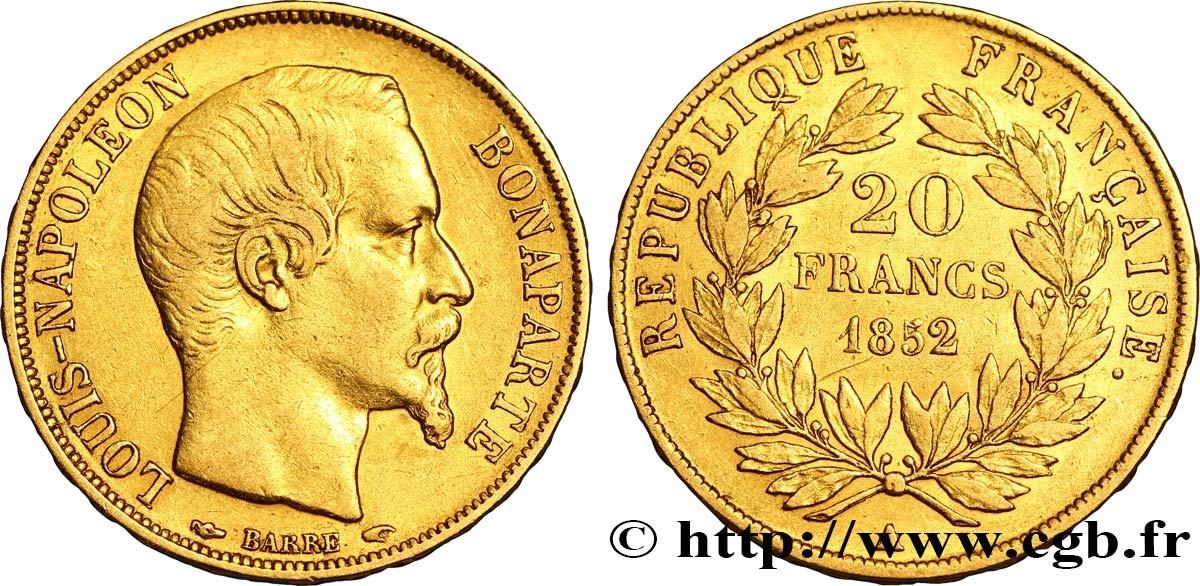 20 francs or Louis-Napoléon 1852 Paris F.530/1 TTB48
