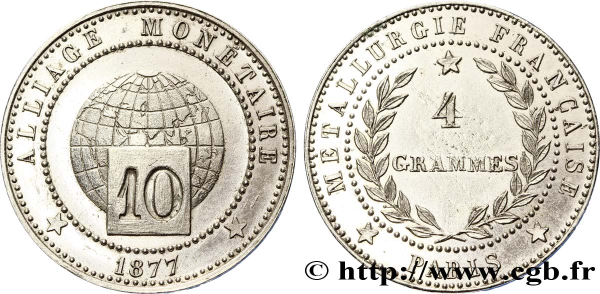 Essai d'alliage de 10 centimes 1877 Paris VG.3899 SUP