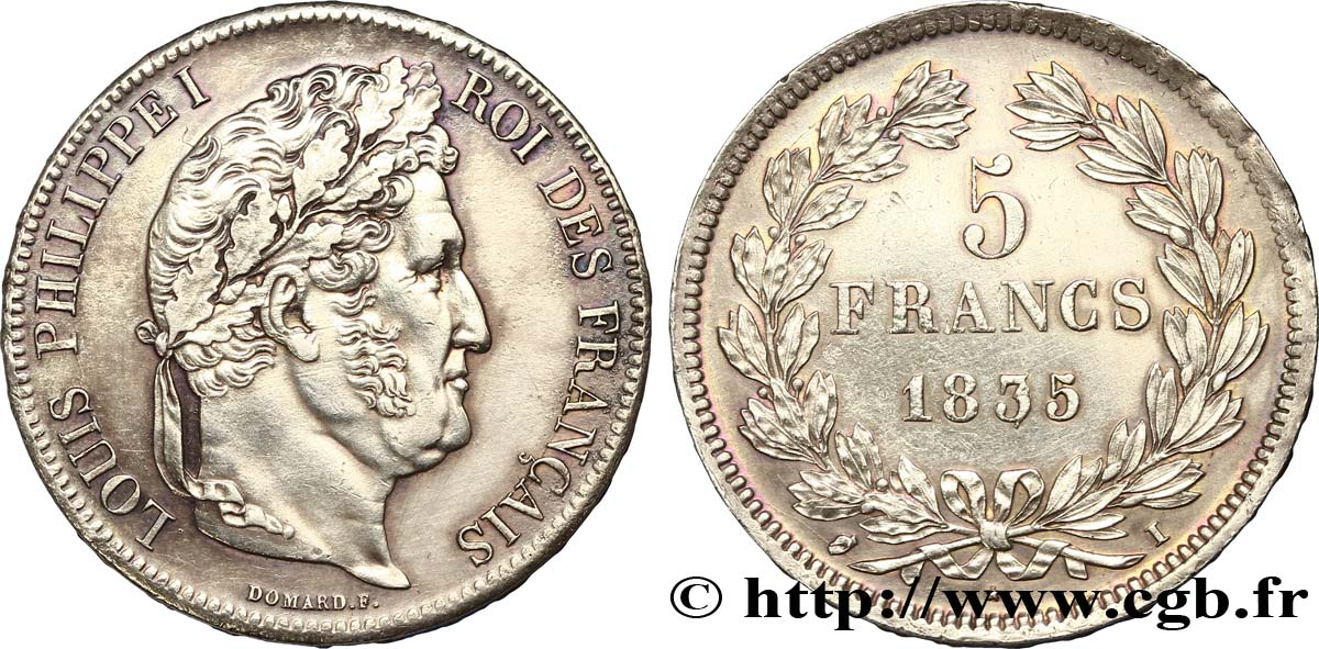 5 francs IIe type Domard 1835 Limoges F.324/47 TTB50