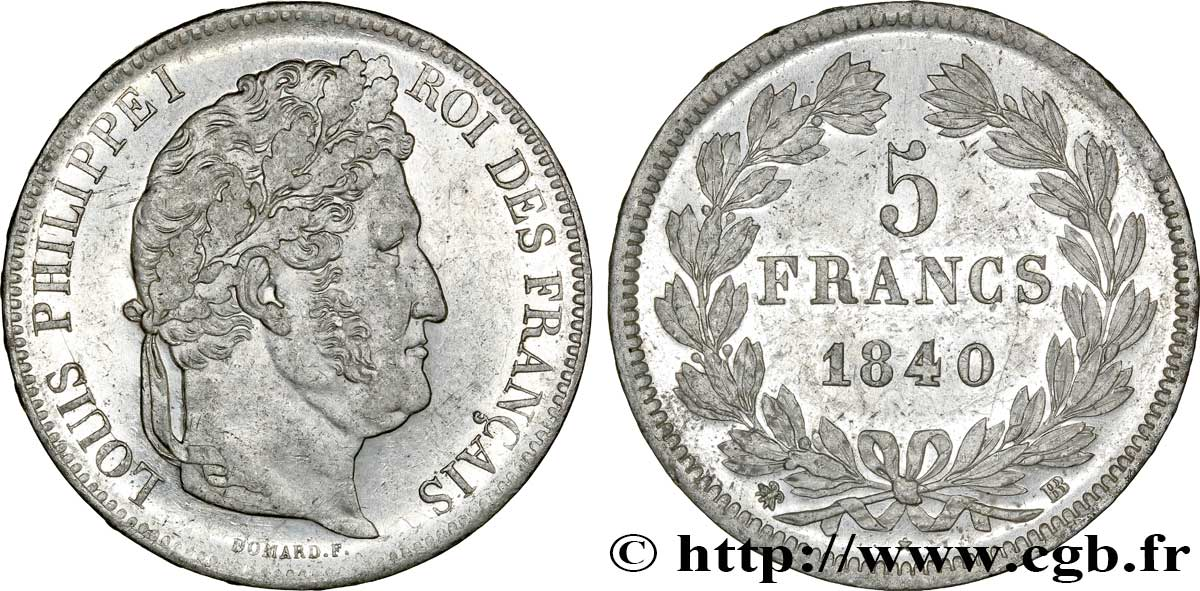 5 francs IIe type Domard 1840 Strasbourg F.324/85 SS52