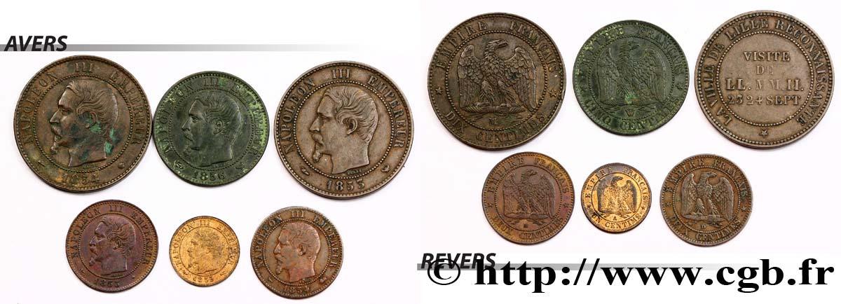 fmd_314276 - Lot de six monnaies en bronze Napoléon III, tête nue n ...