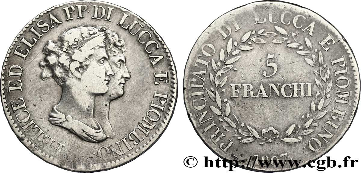 5 franchi, grands bustes 1807 Florence M.437 TB30