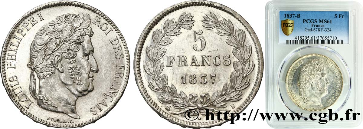 5 francs IIe type Domard 1837 Rouen F.324/62 SUP61 PCGS