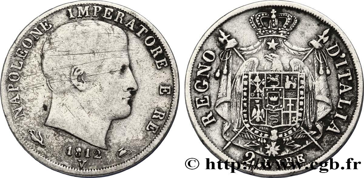 2 Lire Napoléon Empereur Et Roi Ditalie 1812 Venise M28 Fmd326116