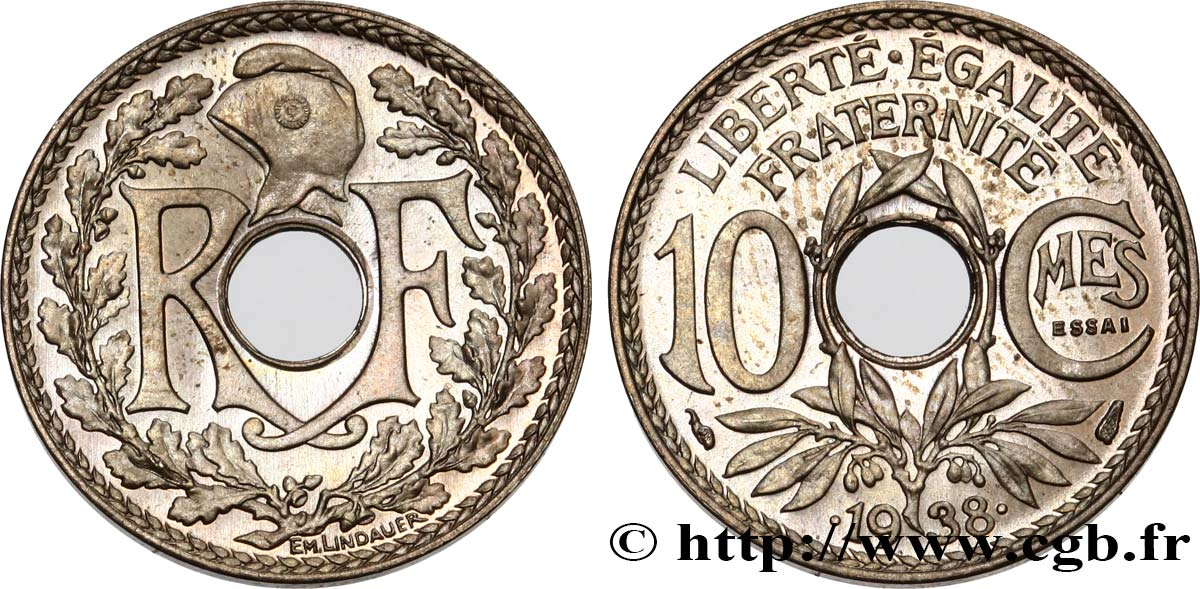 Essai de 10 centimes Lindauer, maillechort 1938 Paris F.139/1 MS63