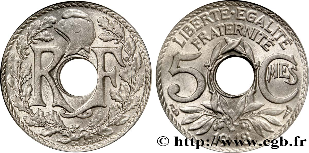 5 centimes Lindauer, grand module 1918 Paris F.121/2 SPL64
