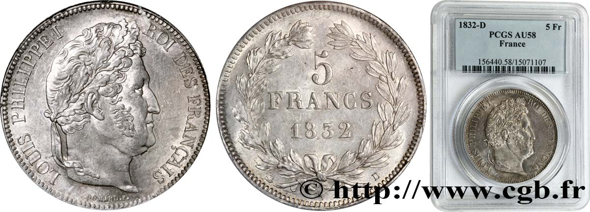 5 francs IIe type Domard 1832 Lyon F.324/4 SUP58 PCGS