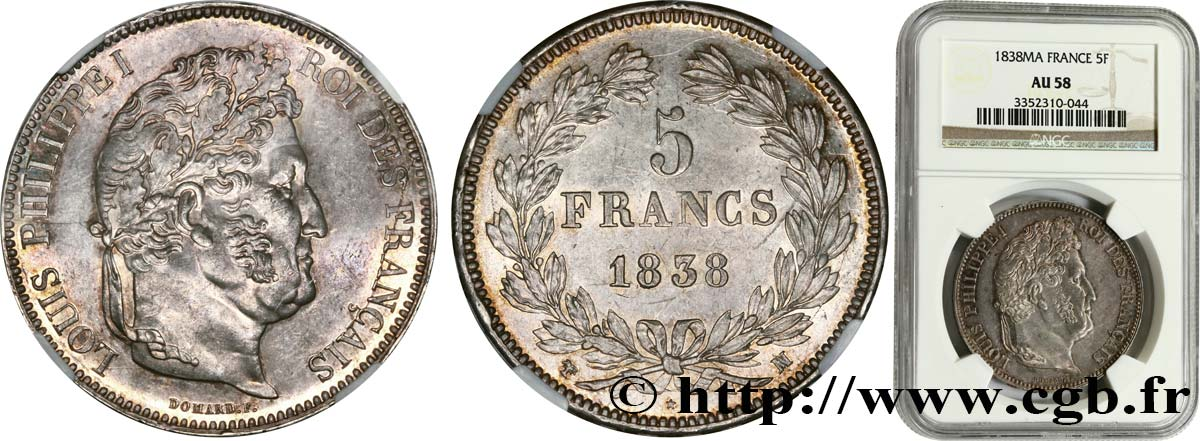 5 francs IIe type Domard 1838 Marseille F.324/73 SUP58 NGC