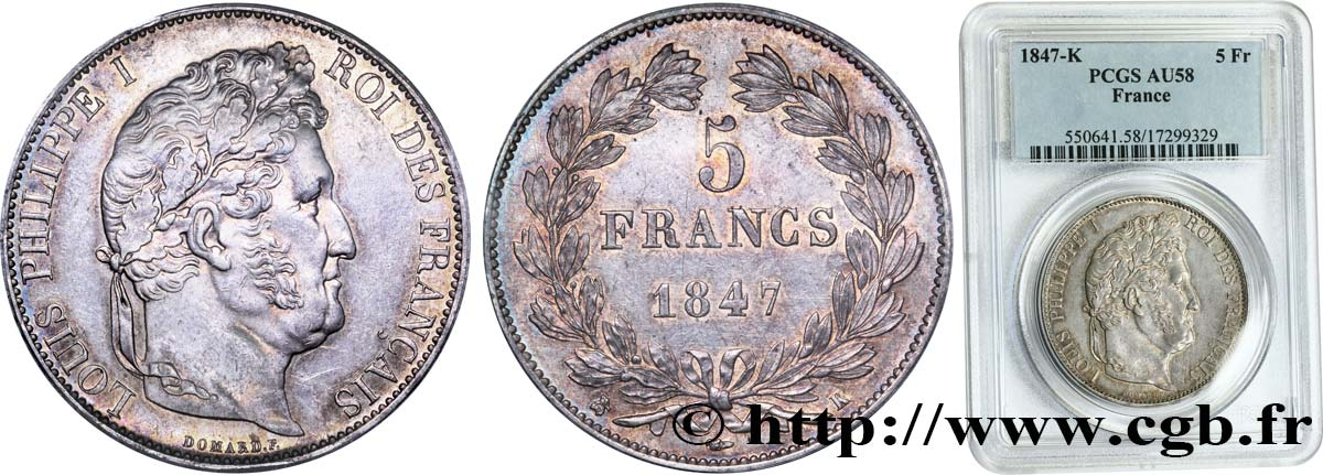 5 francs IIIe type Domard 1847 Bordeaux F.325/16 SUP58 PCGS