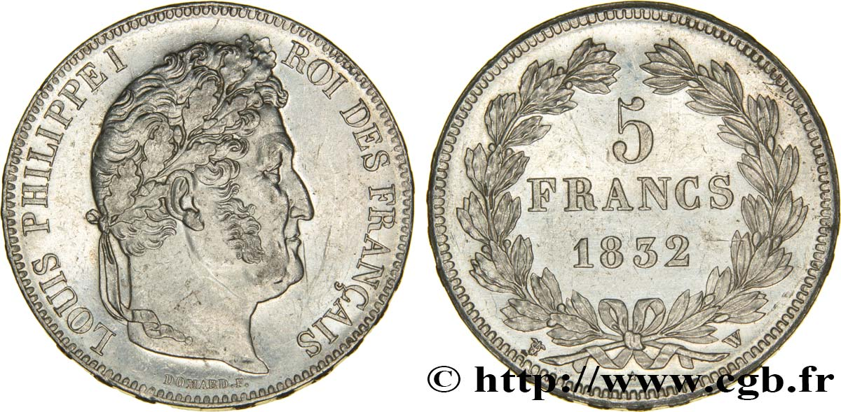 5 francs IIe type Domard 1832 Lille F.324/13 SUP58