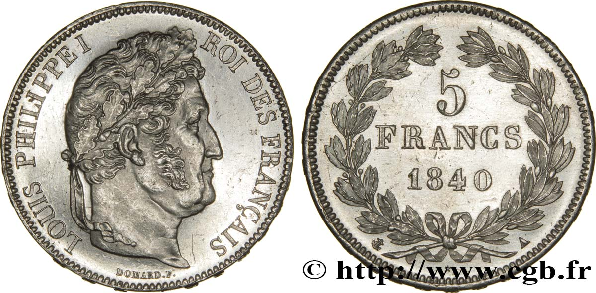 5 francs IIe type Domard 1840 Paris F.324/83 SUP62